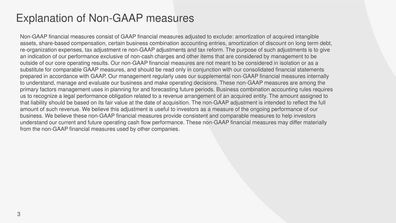 Explanation of Non-GAAP measures