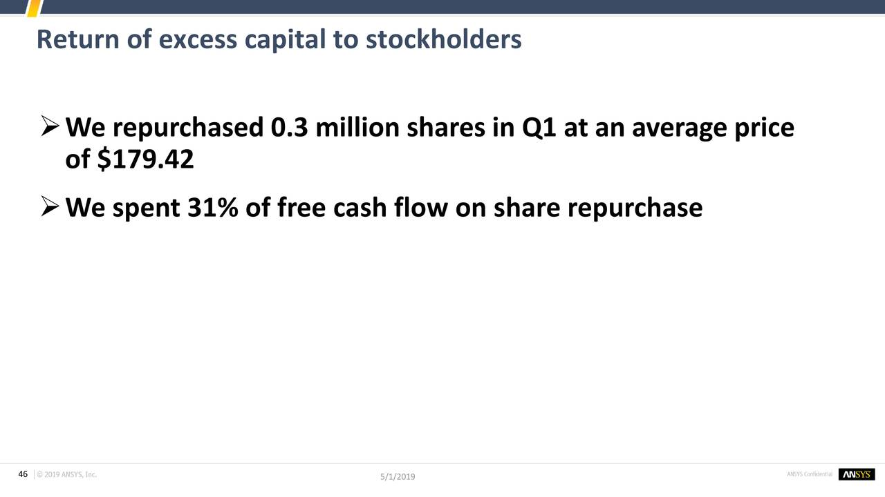 ANSYS, Inc  2019 Q1 - Results - Earnings Call Slides - ANSYS, Inc