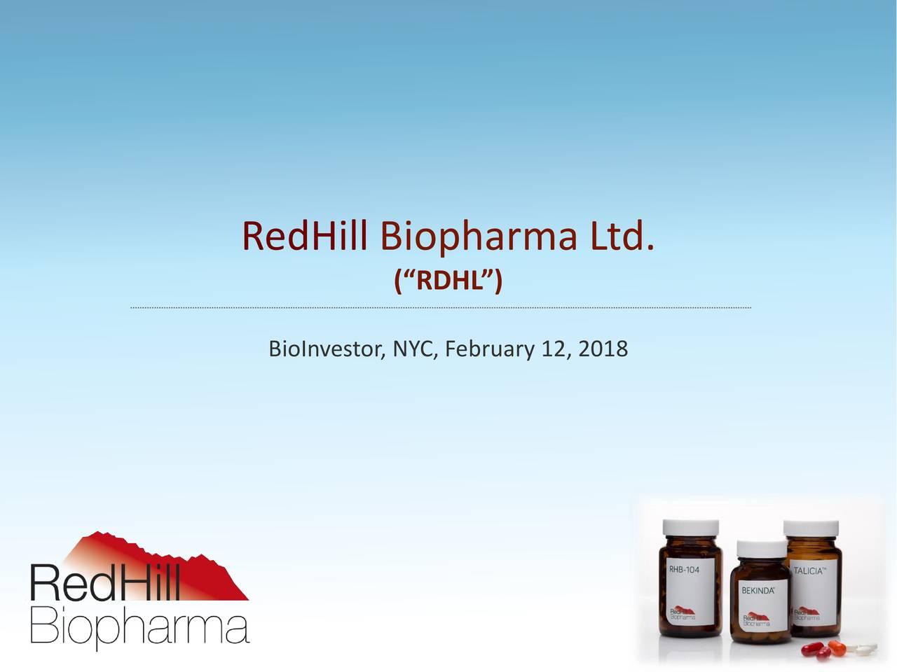 "(""RDHL"") BioInvestor, NYC, February 12, 2018"