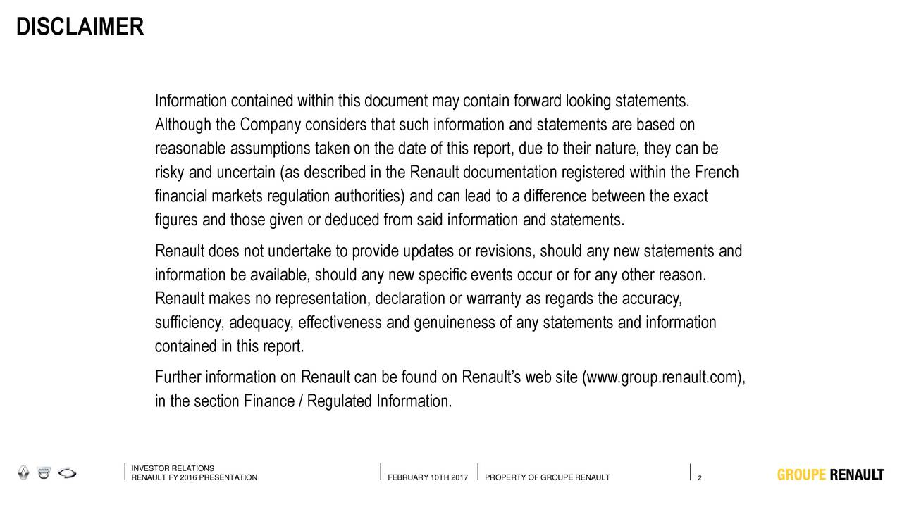 2016 financial results conference information contained within this document may contain forward looking statements although the company considers that
