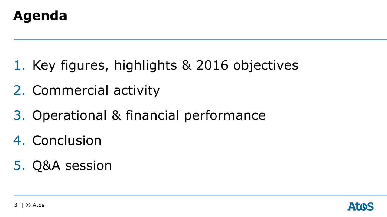 1. Key figures, highlights & 2016 objectives 2. Commercial activity 3. Operational & financial performance 4. Conclusion 5. Q&A session 3 |  Atos