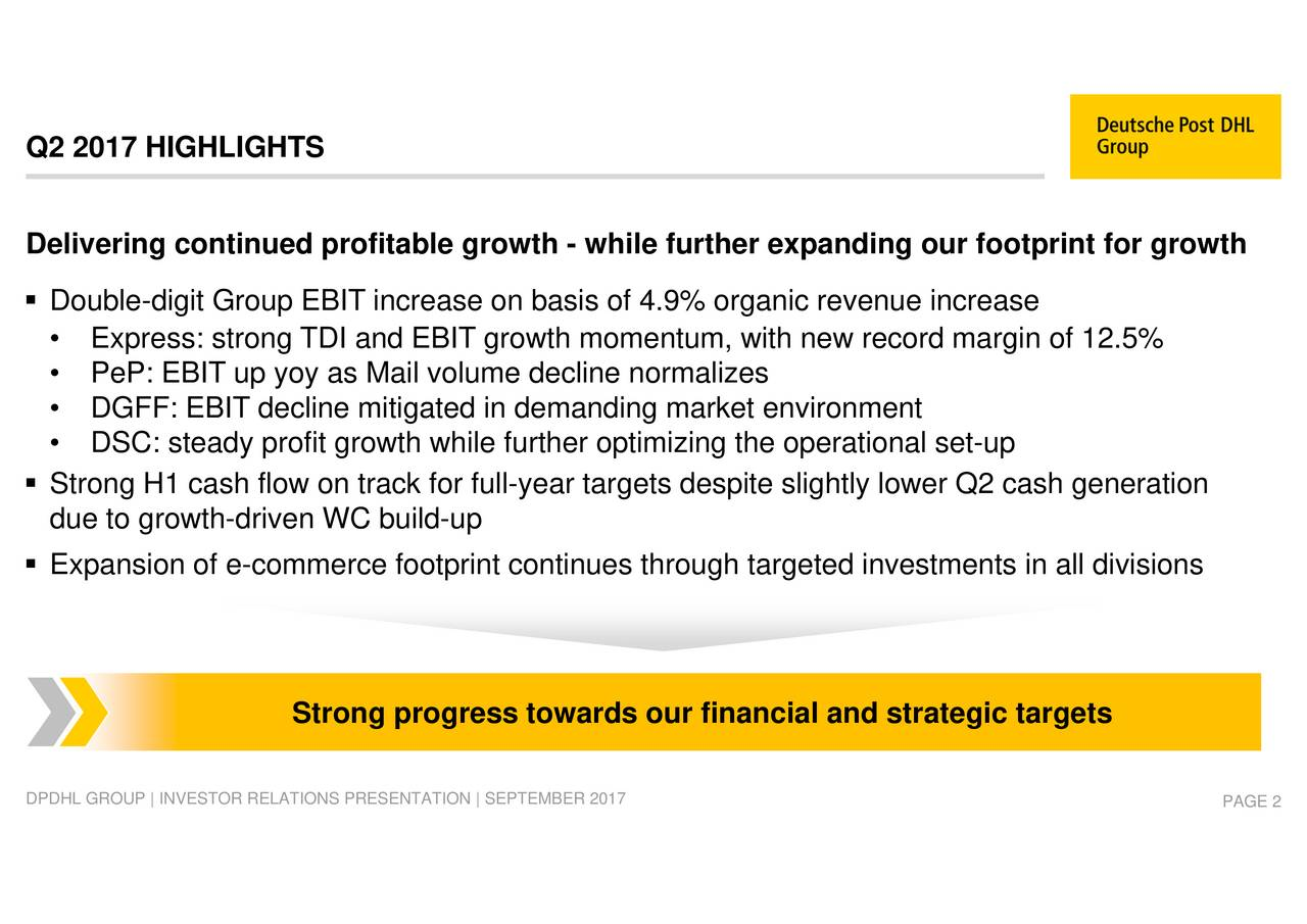 rough targeted investments in all divisions ile further expangets despite slightly lower Q2 cash generation rther optimizing the operational set-up Strong progress towards our financial and strategic targets Double-digit rtdueEtxgaowitnorfe-nWmmebuclduptprint continues thcrease Q2 2017Deliering contined pofitable growth - whL GROUP   INVESTOR RELATI