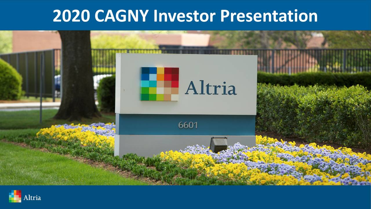 Altria Group (MO) Presents At 2020 CAGNY Conference - Slideshow - Altria Group, Inc. (NYSE:MO) | Seeking Alpha