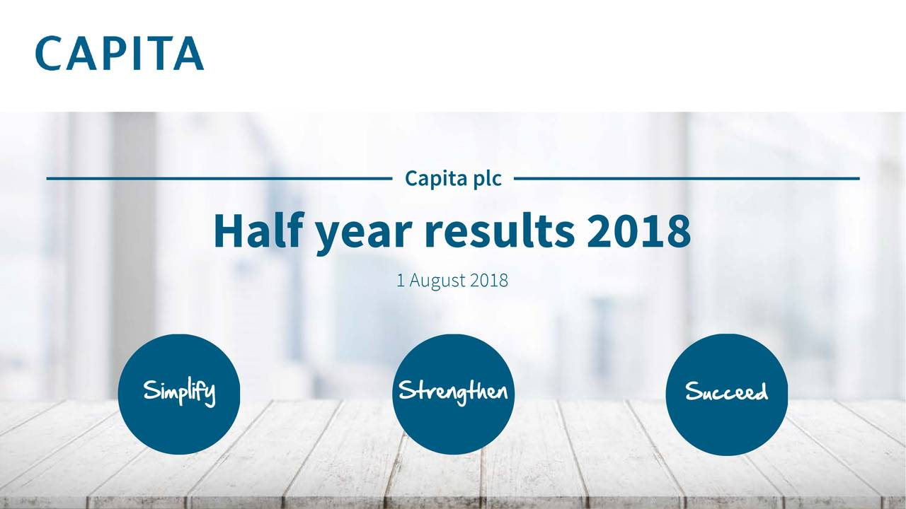 Half year results 2018 1 August 2018