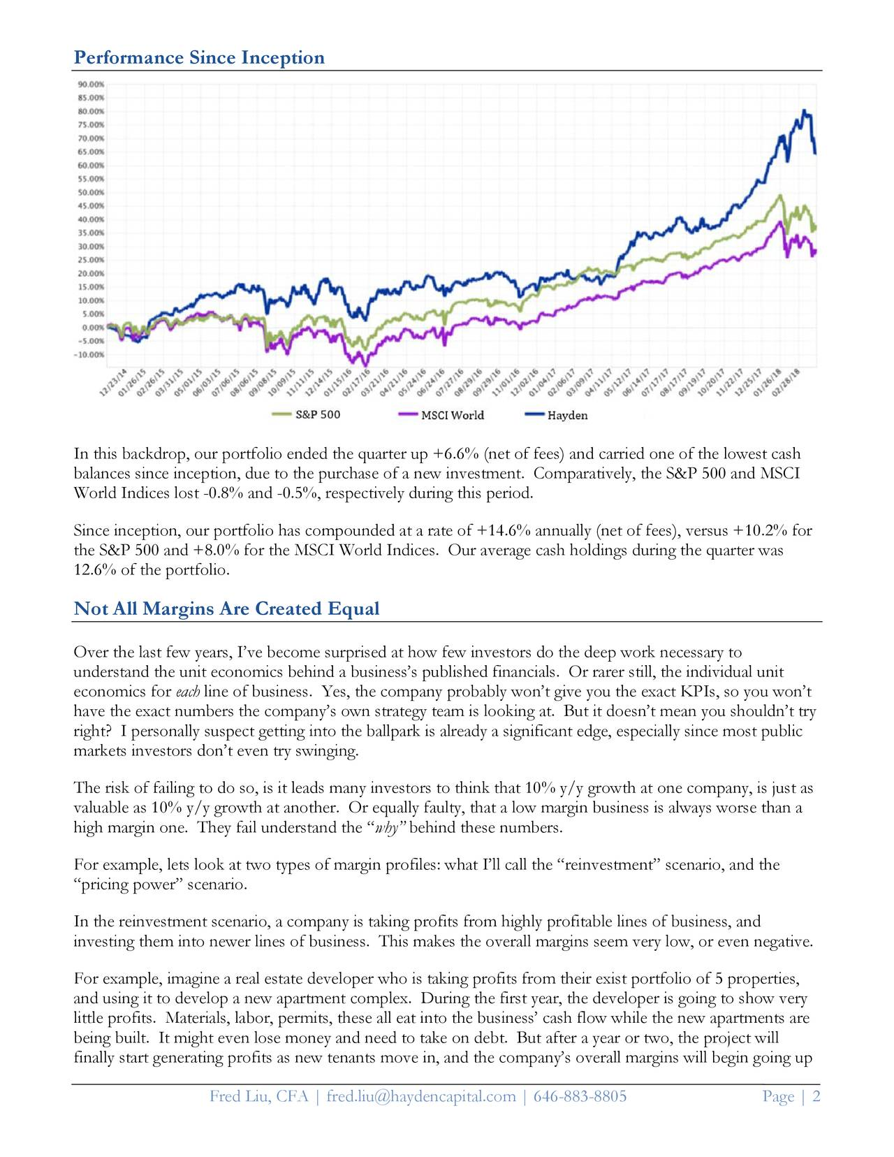 Hayden Capital Quarterly Letter Q1 2018
