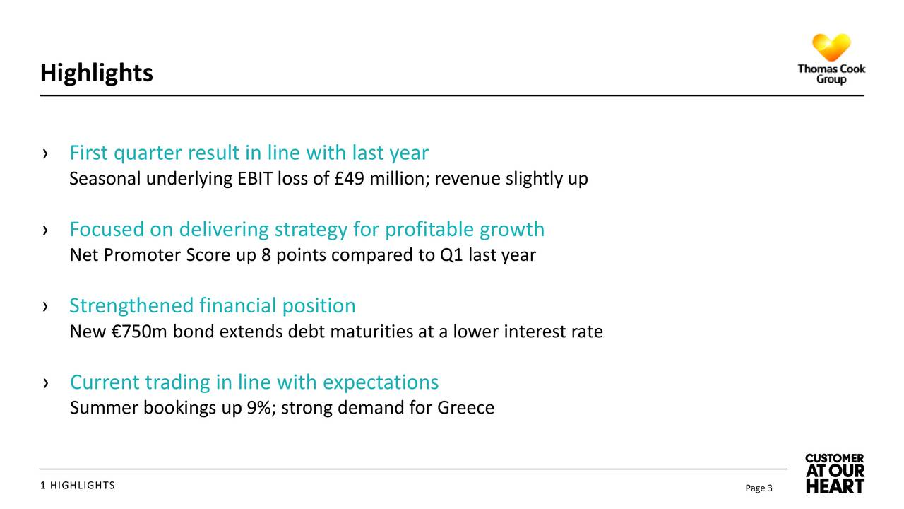 First quarter result in line with last year Seasonal underlying EBIT loss of 49 million; revenue slightly up Focused on delivering strategy for profitable growth Net Promoter Score up 8 points compared to Q1 last year Strengthened financial position New 750m bond extends debt maturities at a lower interest rate Current trading in line with expectations Summer bookings up 9%; strong demand for Greece 1 HIGHLIGHTS Page 3