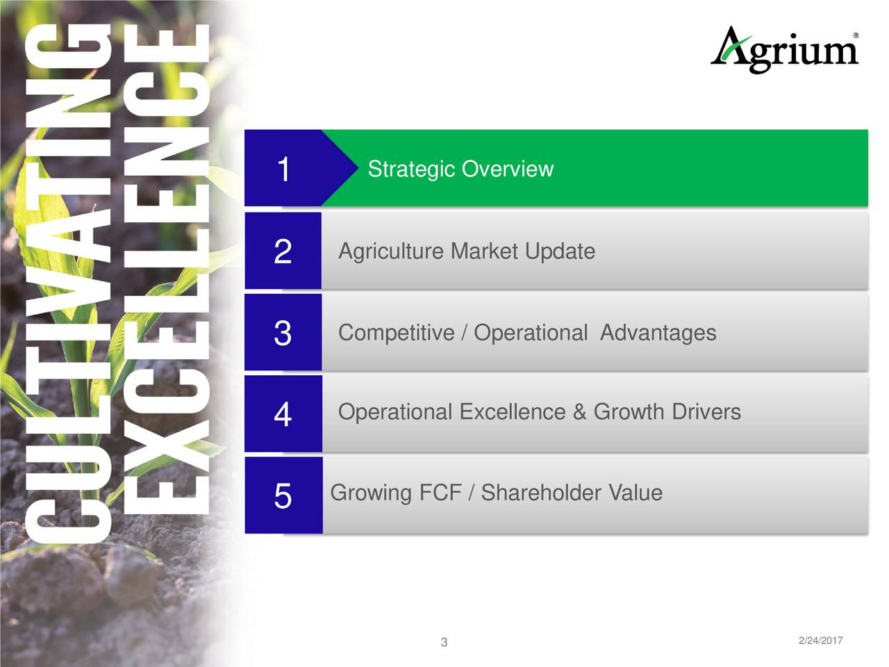 2 Agriculture Market Update 3 Competitive / Operational Advantages Operational Excellence & Growth Drivers 4 Growing FCF / Shareholder Value 5 3 2/24/2017