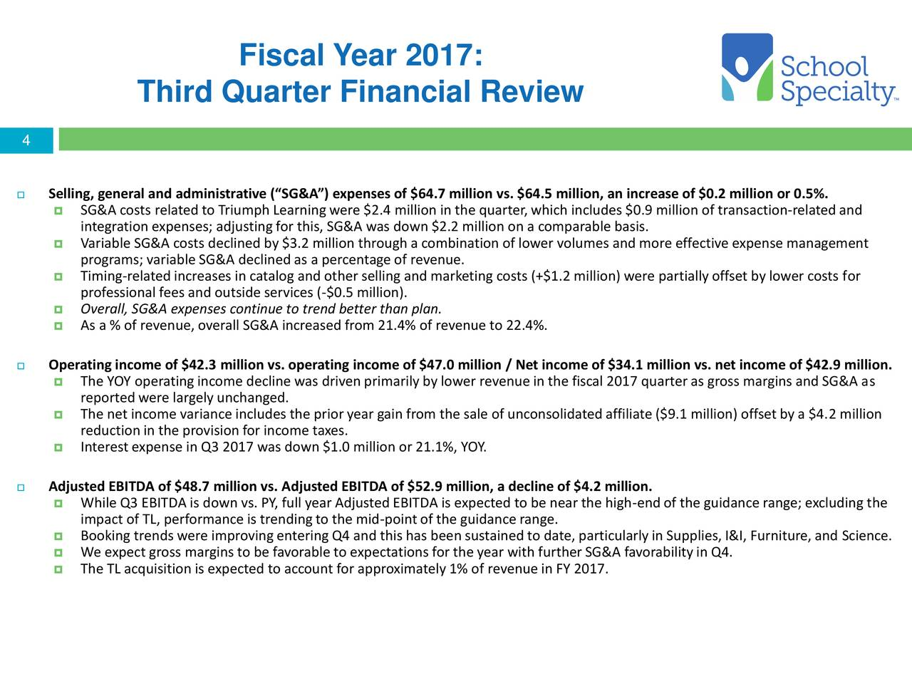 School specialty inc 2017 q3 results earnings call for School furniture 4 less reviews