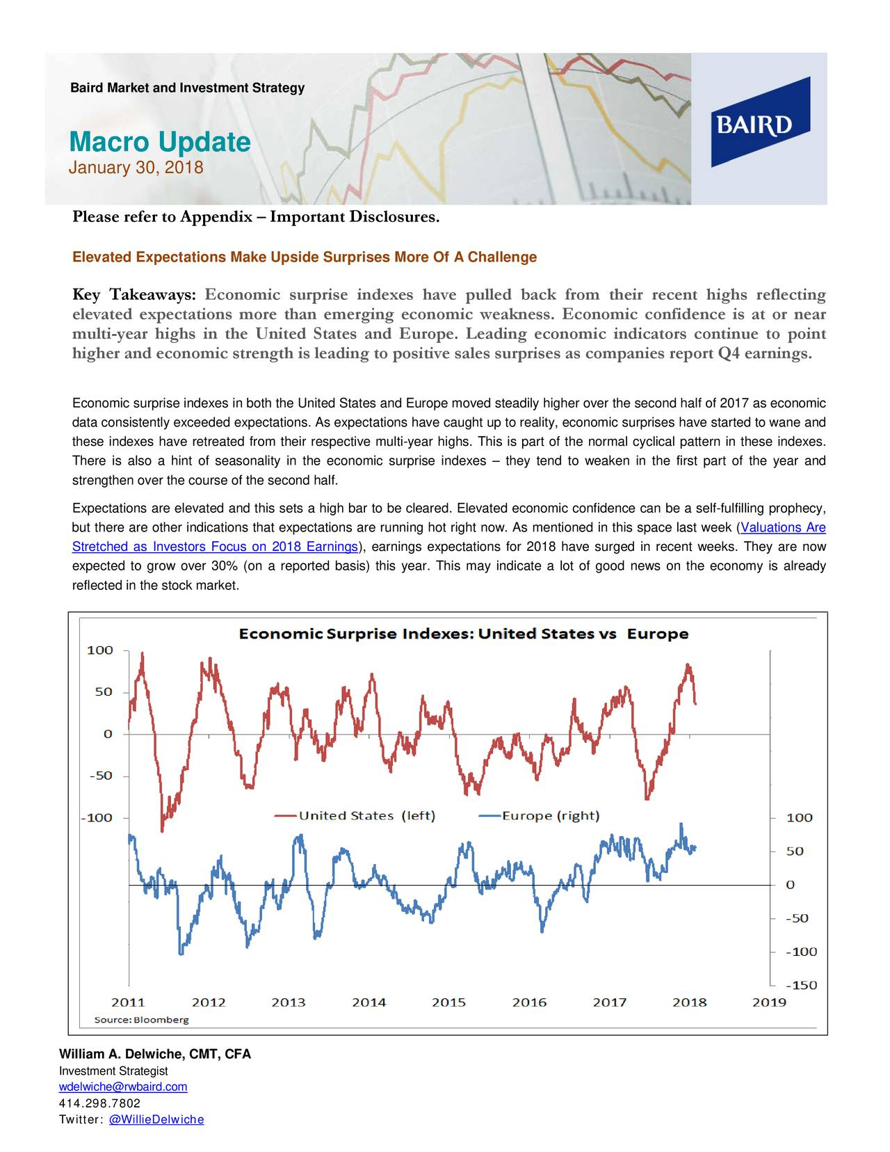 Macro Update January 30, 2018 Please refer to Appendix – Important Disclosures. Elevated Expectations Make Upside Surprises More Of A Challenge Key Takeaway s: Economic surprise indexes have pulled back from their recent highs reflecting elevated expectations more than emerging economic weakness. Economic confidence is at or near multi-year highs in the United States and Europe . Leading economic indicators continue to point higher and economic strength is leading to positive sales surprises as companies report Q4 earnings. Economic surprise indexes in both the United States and Europe moved steadily higher over the second half of 2017 as economic data consistently exceeded expectations. As expectations have caught up to reality, economic surprises have started to wane and these indexes have retreated from their respective multi -year highs. This is part of the normal cyclical pattern in these indexes. There is also a hint of seasonality in the economic surprise inde– they tend to weaken in the first part of the year and strengthen over the course of the second half. Expectations are elevated and this sets a high bar to be cleared. Elevated economic confidence can be a self -fulfilling prophecy, but there are other indications that expectations are running hnow. As mentioned in this space last week (luations Are Stretched as Investors Focus on 2018 Earnings ), earnings expectations for 2018 have surged in recent weeks. They are now expected to grow over 30% (on a reporte d basis) this year. This may indicate a lot of good news on the economy is already reflected in the stock market. William A. Delwiche, CMT, CFA Investment Strategist wdelwiche@rwbaird.com 414.298.7802 Twitter: @WillieDelwiche