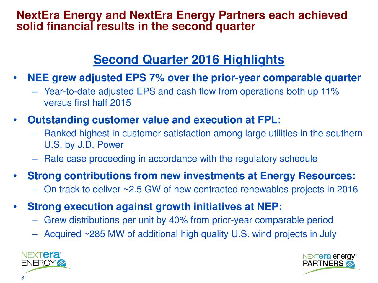 solid financial results in the second quarter Second Quarter 2016 Highlights NEE grew adjusted EPS 7% over the prior-year comparable quarter Year-to-date adjusted EPS and cash flow from operations both up 11% versus first half 2015 Outstanding customer value and execution at FPL: Ranked highest in customer satisfaction among large utilities in the southern U.S. by J.D. Power Rate case proceeding in accordance with the regulatory schedule Strong contributions from new investments at Energy Resources: On track to deliver ~2.5 GW of new contracted renewables projects in 2016 Strong execution against growth initiatives at NEP: Grew distributions per unit by 40% from prior-year comparable period Acquired ~285 MW of additional high quality U.S. wind projects in July
