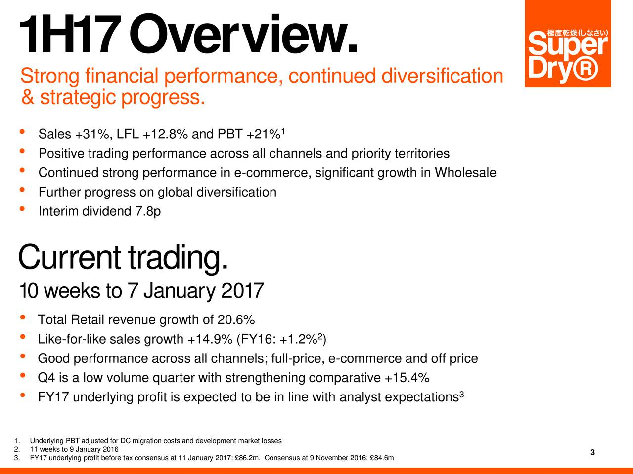 Strong financial performance, continued diversification & strategic progress. Sales +31%, LFL +12.8% and PBT +21% Positive trading performance across all channels and priority territories Continued strong performance in e-commerce, significant growth in Wholesale Further progress on global diversification Interim dividend 7.8p Currenttrading. 10 weeks to 7 January 2017 Total Retail revenue growth of 20.6% Like-for-like sales growth +14.9% (FY16: +1.2% ) Good performance across all channels; full-price, e-commerce and off price Q4 is a low volume quarter with strengthening comparative +15.4% FY17 underlying profit is expected to be in line with analyst expectations 3.FY17 underlying profit before tax consensus at 11 January 2017: 86.2m. Consensus at 9 November 2016: 84.6m