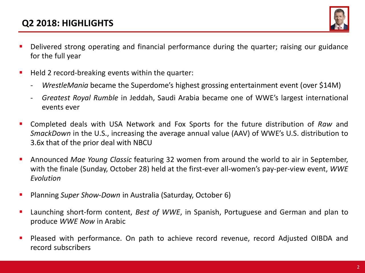 World Wrestling Entertainment, Inc  2018 Q2 - Results