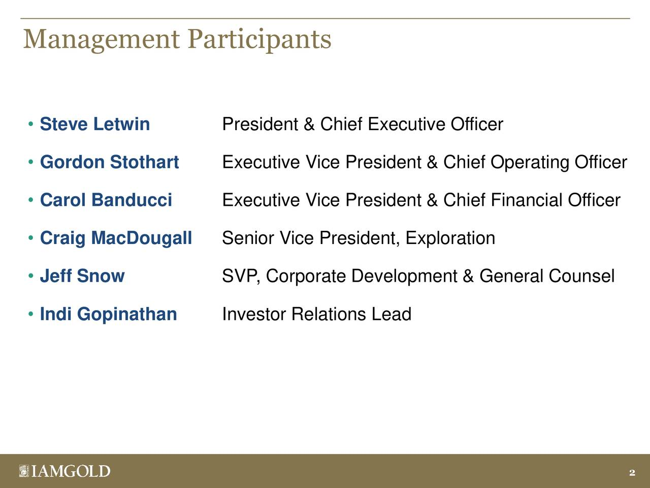 Management Participants