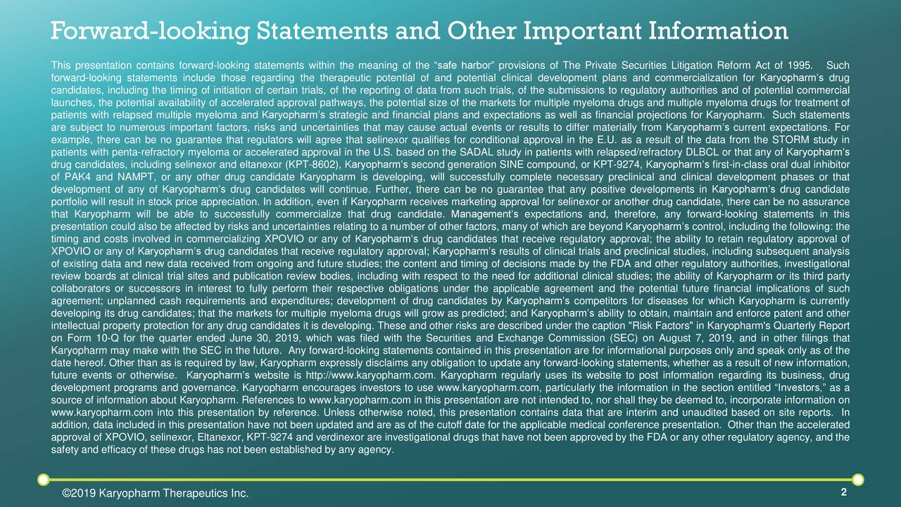 Forward-looking Statements and Other Important Information