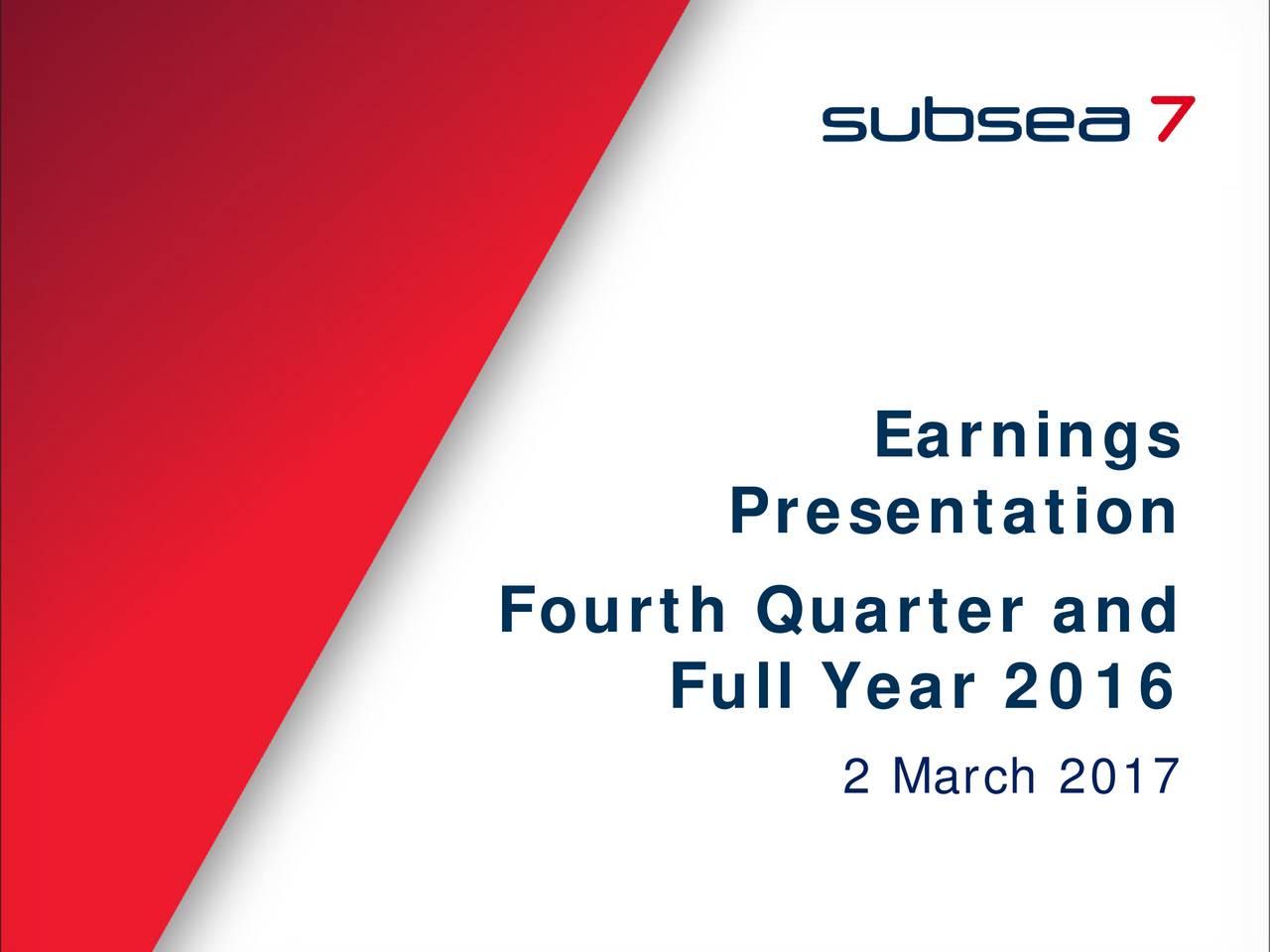 Presentation Fourth Quarter and Full Year 2016 2 March 2017 1