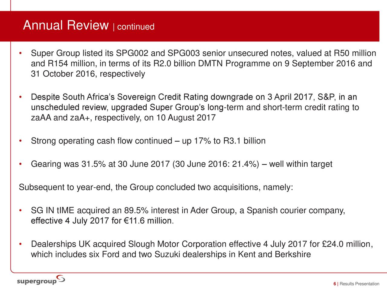 Super group ltd adr 2017 q4 results earnings call for Ford motor credit interest rates for tier 4