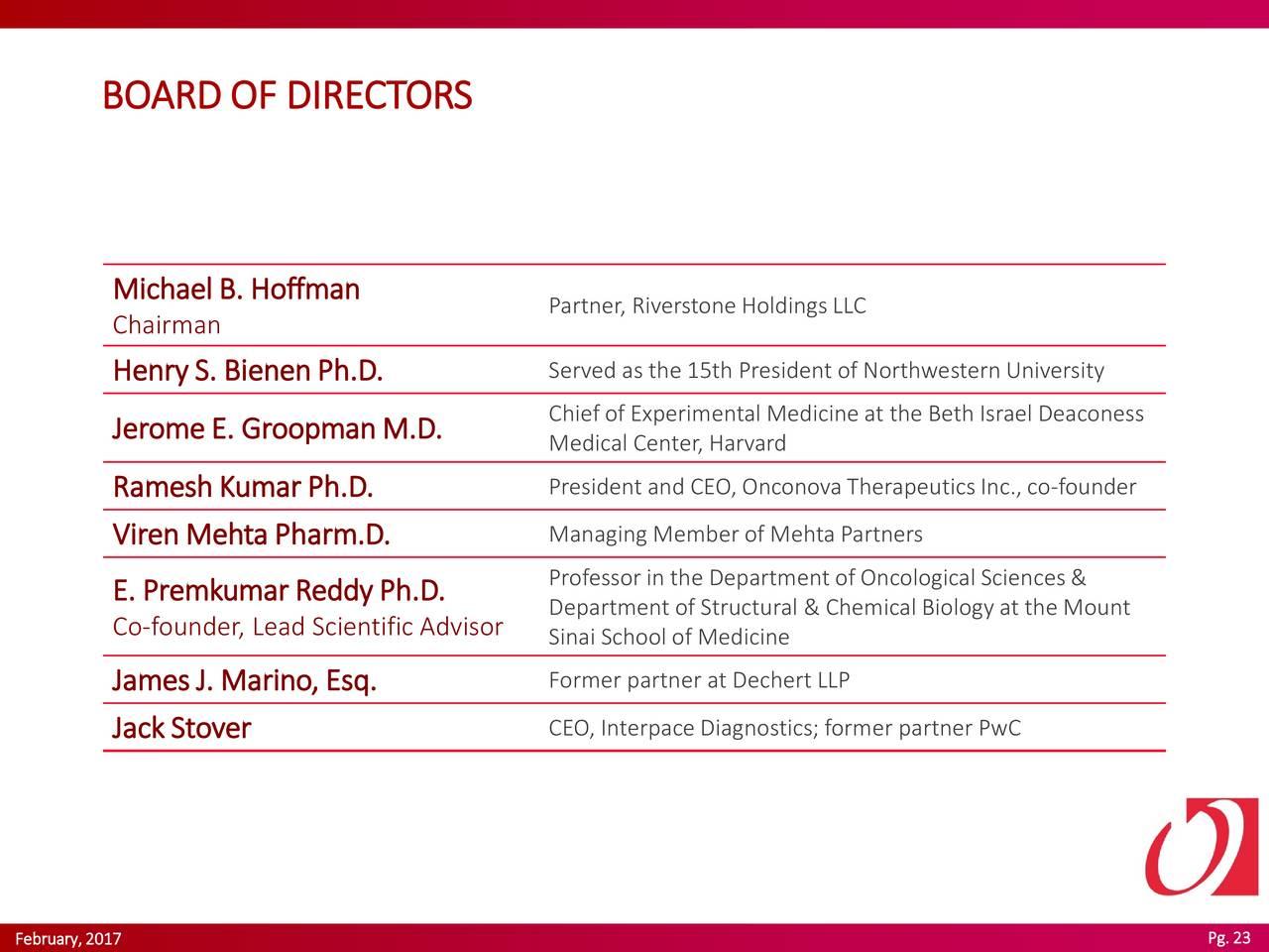 Bienen Partner onconova therapeutics ontx presents at 19th annual bio ceo
