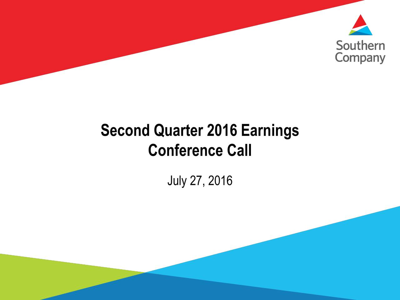 Conference Call July 27, 2016