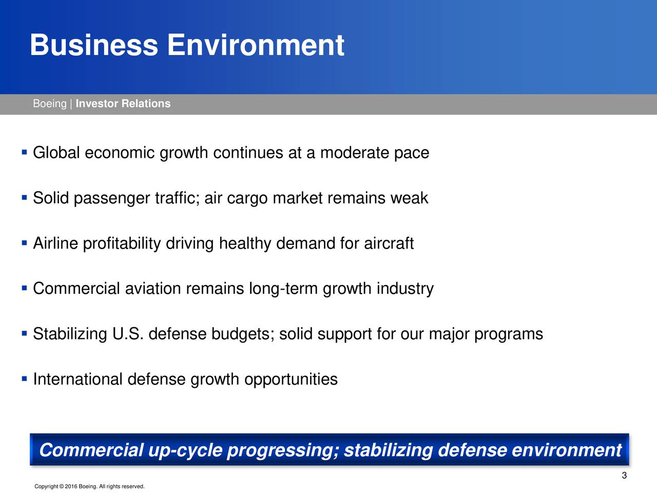 Boeing   Investor Relations Global economic growth continues at a moderate pace Solid passenger traffic; air cargo market remains weak Airline profitability driving healthy demand for aircraft Commercial aviation remains long-term growth industry Stabilizing U.S. defense budgets; solid support for our major programs International defense growth opportunities Commercial up-cycle progressing; stabilizing defense environment 3