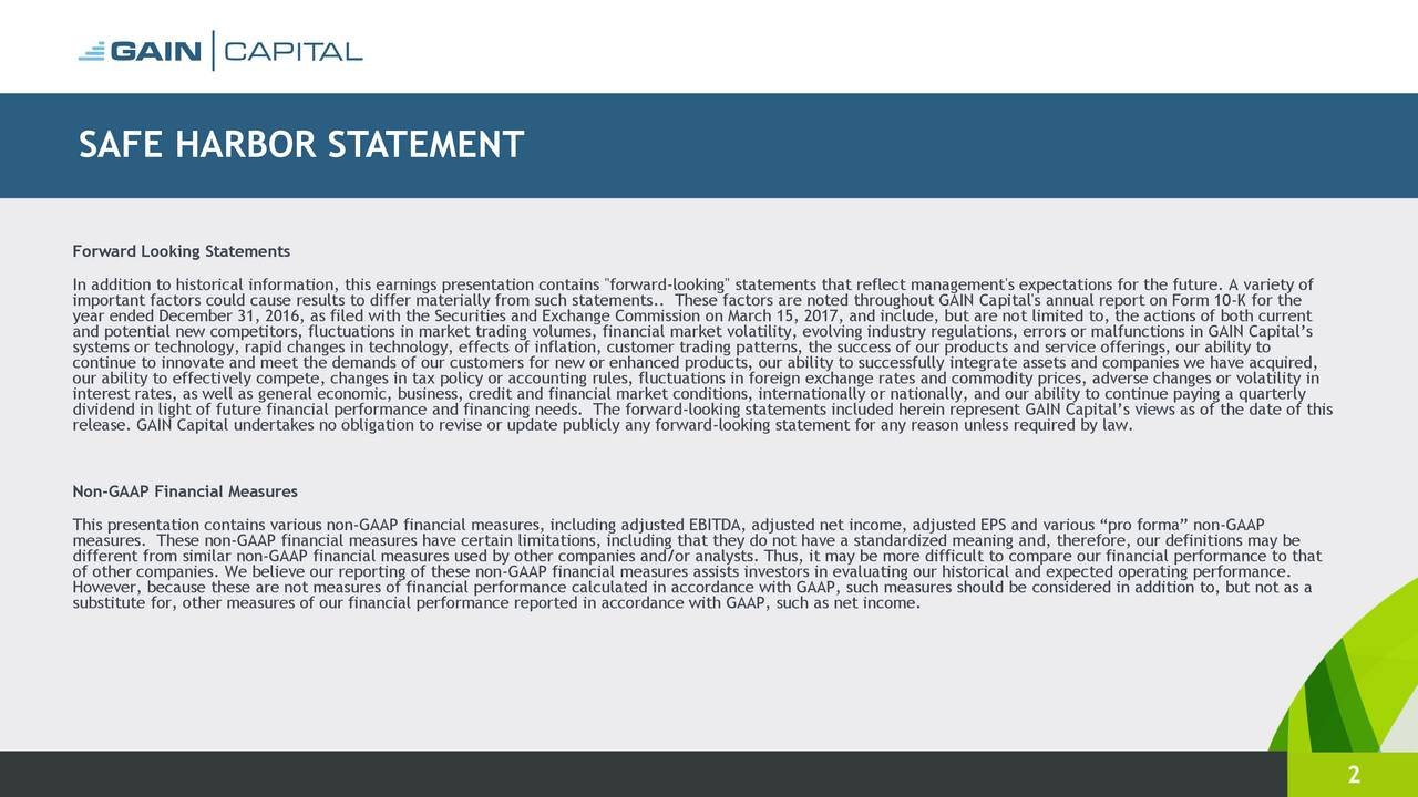 """Forward Looking Statements In addition to historical information, this earnings presentation contains """"forward-looking"""" statements that reflect management's expectations for the future. A variety of important factors could cause results to differ materially from such statements.. These factors are noted throughout GAIN Capital's annual report on Form 10-K for the year ended December 31, 2016, as filed with the Securities and Exchange Commission on March 15, 2017, and include, but are not limited to, the actions of both current and potential new competitors, fluctuations in market trading volumes, financial market volatility, evolving industry regulations, errors or malfunctions in GAIN Capitals systems or technology, rapid changes in technology, effects of inflation, customer trading patterns, the success of our products and service offerings, our ability to continue to innovate and meet the demands of our customers for new or enhanced products, our ability to successfully integrate assets and companies we have acquired, our ability to effectively compete, changes in tax policy or accounting rules, fluctuations in foreign exchange rates and commodity prices, adverse changes or volatility in interest rates, as well as general economic, business, credit and financial market conditions, internationally or nationally, and our ability to continue paying a quarterly dividend in light of future financial performance and financing needs. The forward-looking statements included herein represent GAIN Capitals views as of the date of this release. GAIN Capital undertakes no obligation to revise or update publicly any forward-looking statement for any reason unless required by law. Non-GAAP Financial Measures This presentation contains various non-GAAP financial measures, including adjusted EBITDA, adjusted net income, adjusted EPS and various pro forma non-GAAP measures. These non-GAAP financial measures have certain limitations, including that they do not have a standardized """