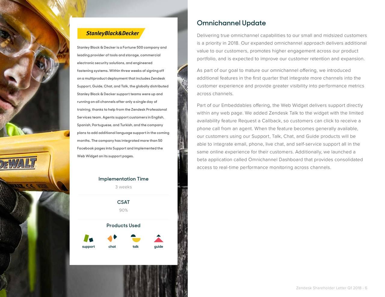 Zendesk Q1 2018 Shareholder Letter - Zendesk, Inc  (NYSE:ZEN