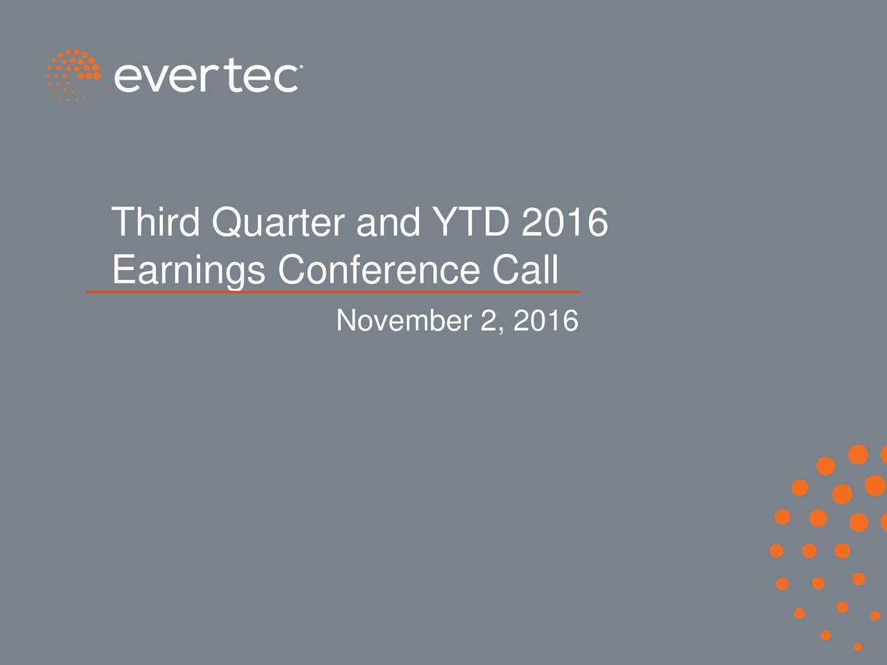 Earnings Conference Call November 2, 2016