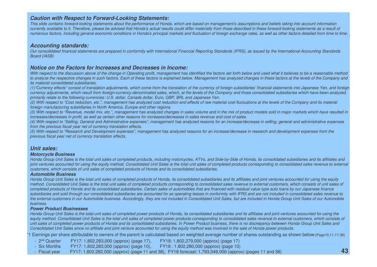 Honda motor co ltd 2017 q2 results earnings call for Honda financial account management