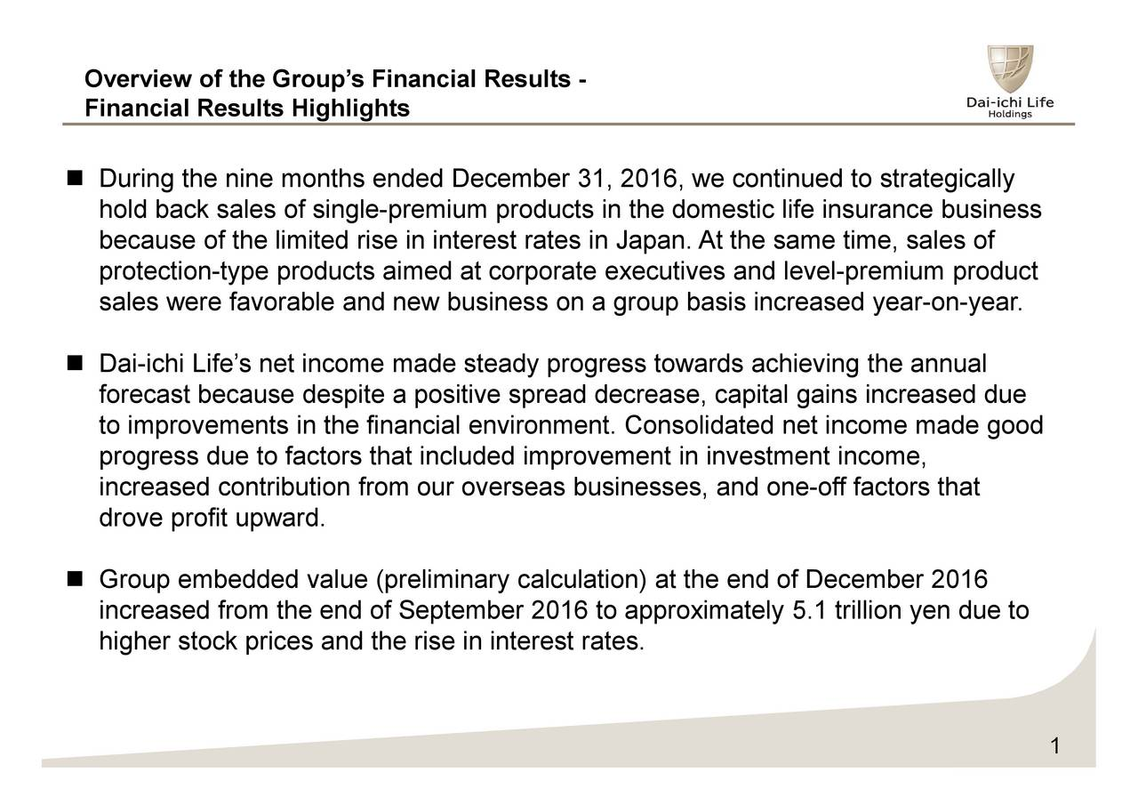 Financial Results Highlights During the nine months ended December 31, 2016, we continued to strategically hold back sales of single-premium products in the domestic life insurance business because of the limited rise in interest rates in Japan. At the same time, sales of protection-type products aimed at corporate executives and level-premium product sales were favorable and new business on a group basis increased year-on-year. Dai-ichi Lifes net income made steady progress towards achieving the annual forecast because despite a positive spread decrease, capital gains increased due to improvements in the financial environment. Consolidated net income made good progress due to factors that included improvement in investment income, increased contribution from our overseas businesses, and one-off factors that drove profit upward. Group embedded value (preliminary calculation) at the end of December 2016 increased from the end of September 2016 to approximately 5.1 trillion yen due to higher stock prices and the rise in interest rates. 1