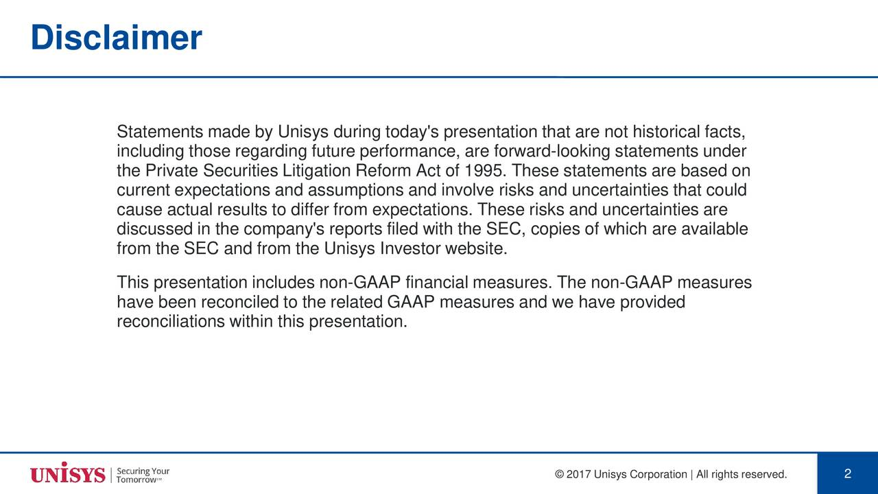 Unisys uis investor presentation slideshow unisys corporation statements made by unisys during todays presentation that are not historical facts including those regarding stopboris Gallery