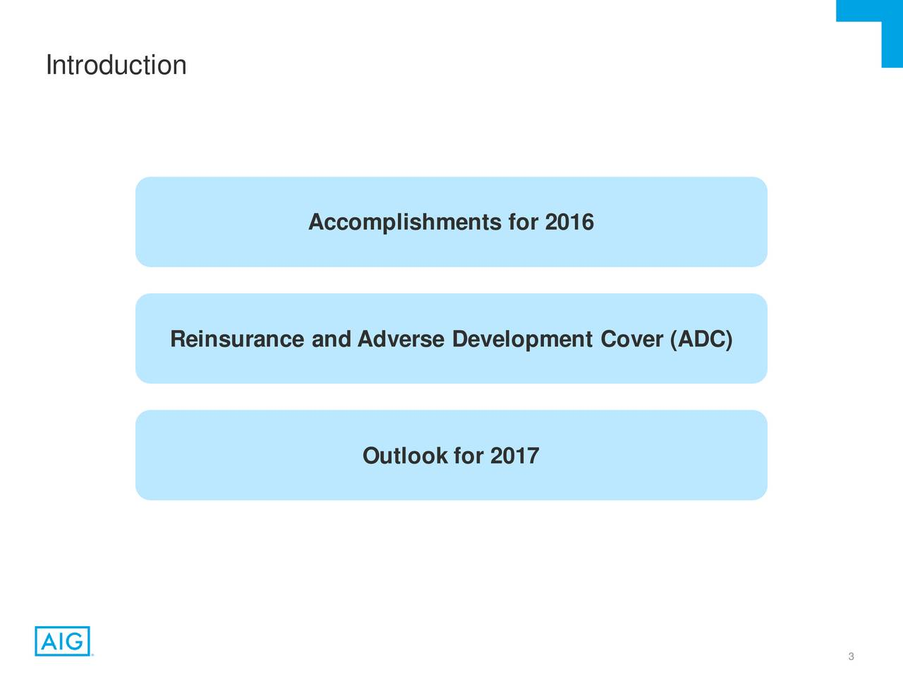 Accomplishments for 2016 Reinsurance andAdverse DevelopmentCover (ADC) Outlook for 2017 3
