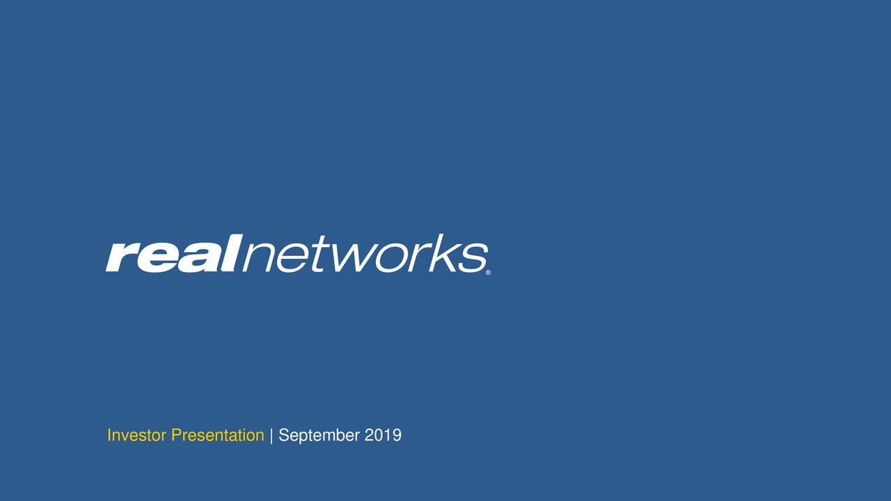 RealNetworks (RNWK) Investor Presentation - Slideshow