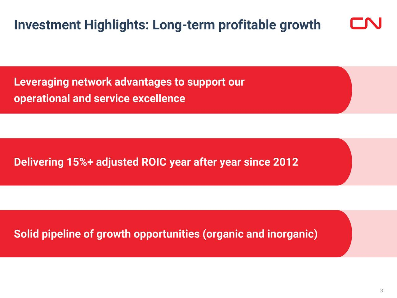 Leveraging network advantages to support our operational and service excellence Delivering 15%+ adjusted ROIC year after year since 2012 Solid pipeline of growth opportunities (organic and inorganic) 3