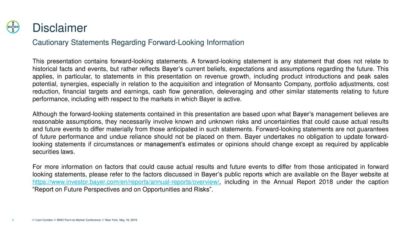 Bayer A G  ADR (BAYRY) Presents At BMO Capital Markets Farm To