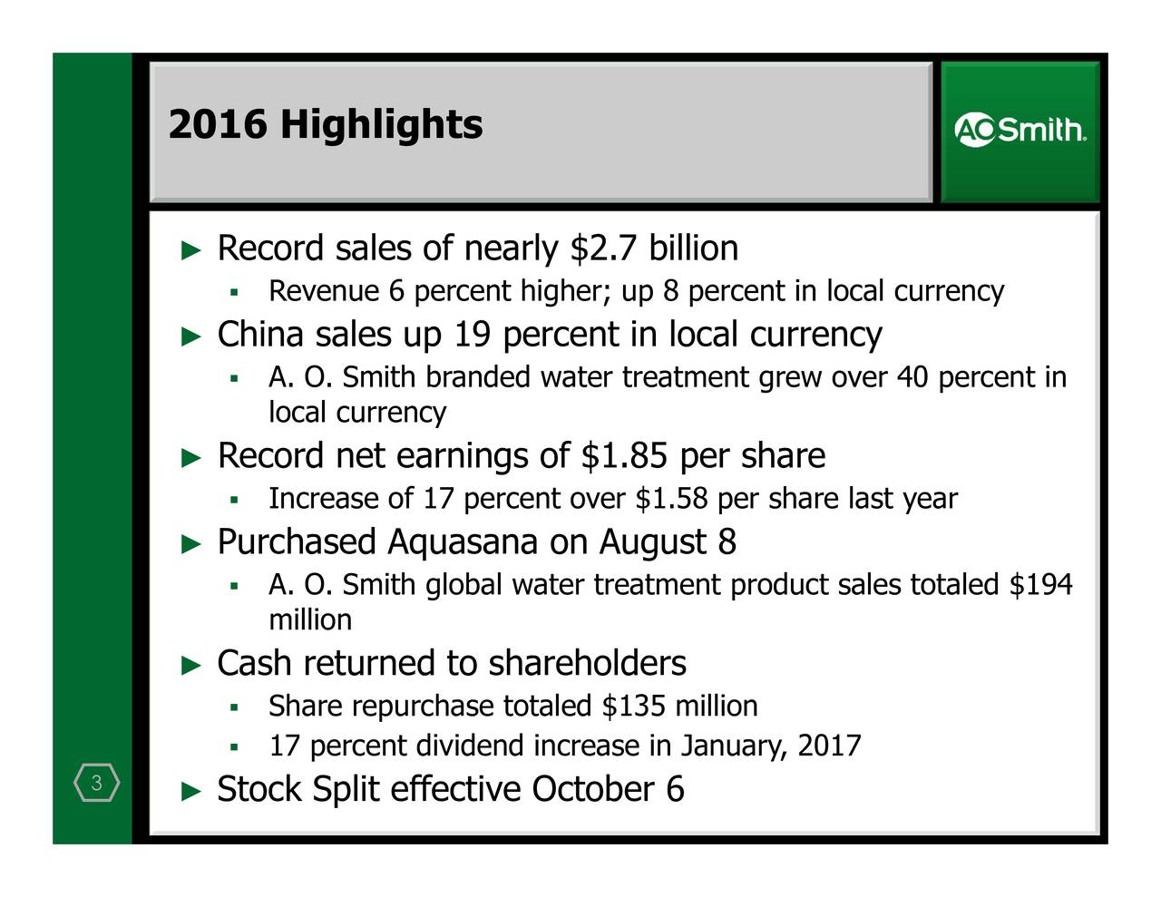 Record sales of nearPrlr$ha.7eailiquaturnakdSnoAthaufshe 2016 Highlights 3