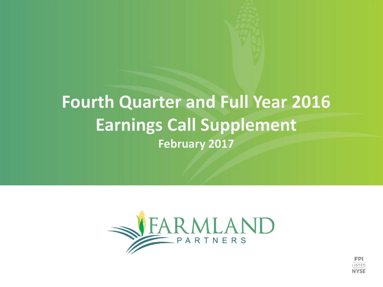 Earnings Call Supplement February 2017