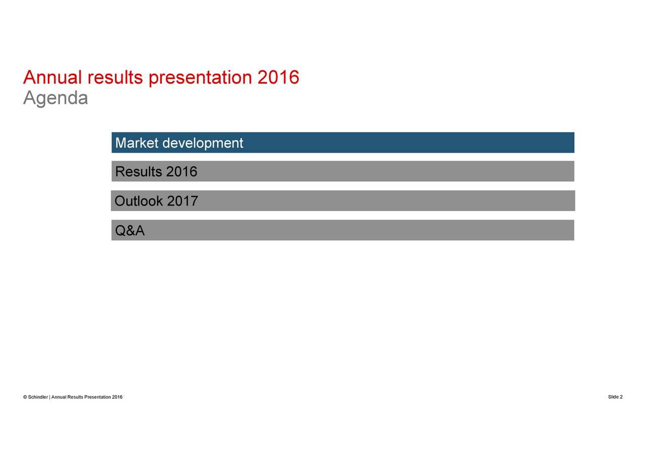 MarResuOutlook 2017 An nuanldasults presentation 2016  Schindler | Annual Results Presentation 2016