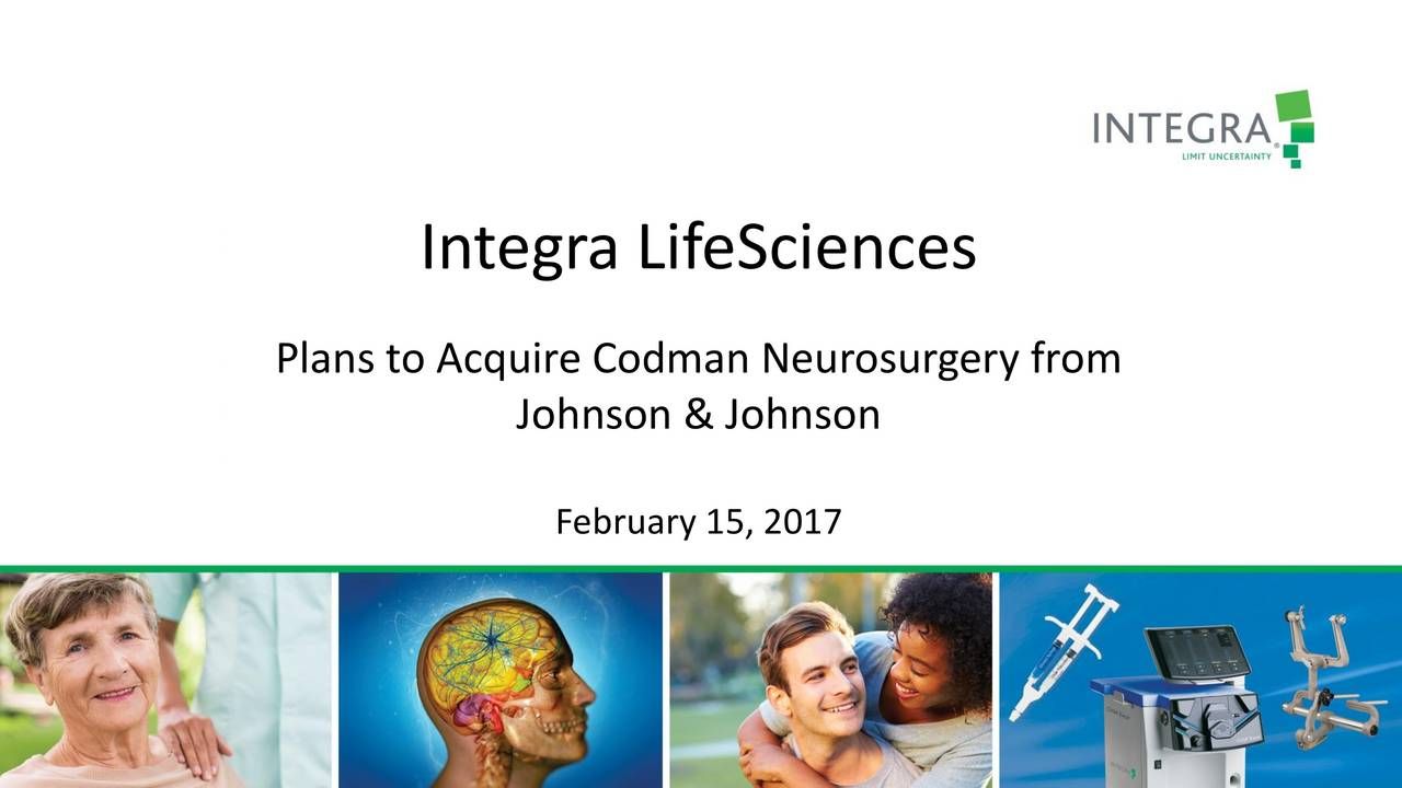 Plans to Acquire Codman Neurosurgery from Johnson & Johnson February 15, 2017