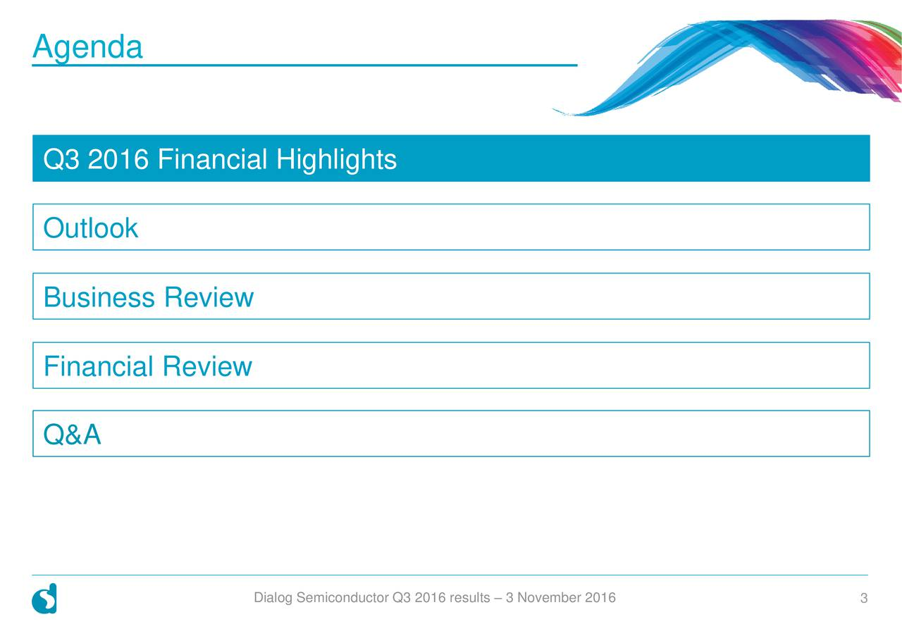 Q3 2016 Financial Highlights Outlook Business Review Financial Review Q&A Insert Agenda Text Here Dialog Semiconductor Q3 2016 results  3 Novembe3 2016