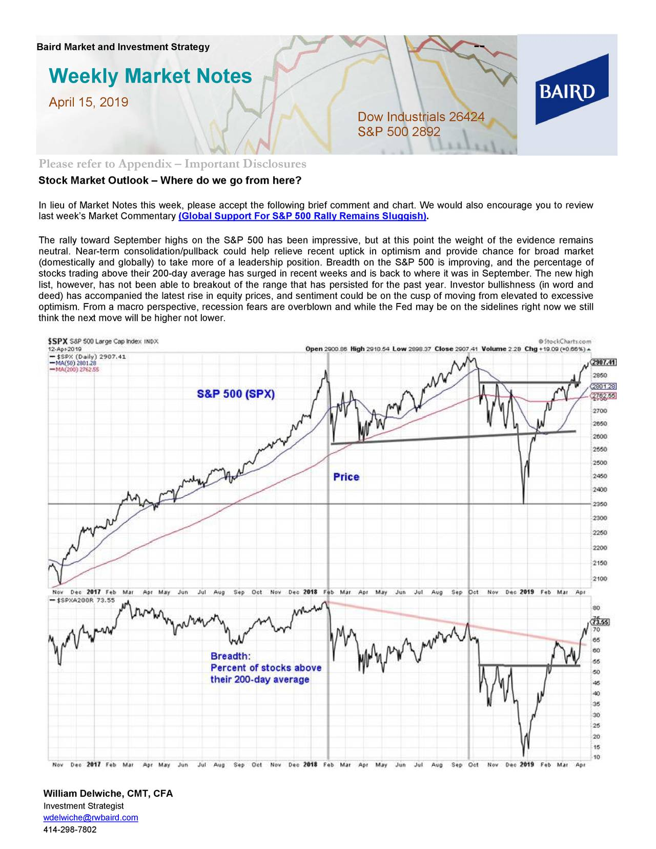 Weekly Market Notes April 15, 2019 Dow Industrials 26424 S&P 500 2892 Please refer to Appendix – Important Disclosures Stock Market Outlook – Where do we go from here? In lieu of Market Notes this week, please accept the following brief comment and chart. We would also encourage you to review last week's Market Commentary (Global Support For S&P 500 Rally Remains Sluggish). The rally toward September highs on the S& P 500 has been impressive, but at this point the weight of the evidence remains neutral. Near -term consolidation/pullback could help relieve recent uptick in optimism and provide chance for broad market (domestically and globally) to take more of a leaders hip position. Breadth on the S&P 500 is improving, and the percentage of stocks trading above their 200 -day average has surged in recent weeks and is back to where it was in September. The new high list, however, has not been able to breakout of the range that has persisted for the past year. Investor bullishness (in word and deed) has accompanied the latest rise in equity prices, and sentiment could be on the cusp of moving from elevated to excessi ve optimism. From a macro perspective, recession fears are overblown and while the Fed may be on the sidelines right now we still think the next move will be higher not lower. William Delwiche, CMT, CFA Investment Strategist wdelwiche@rwbaird.com 414-298-7802