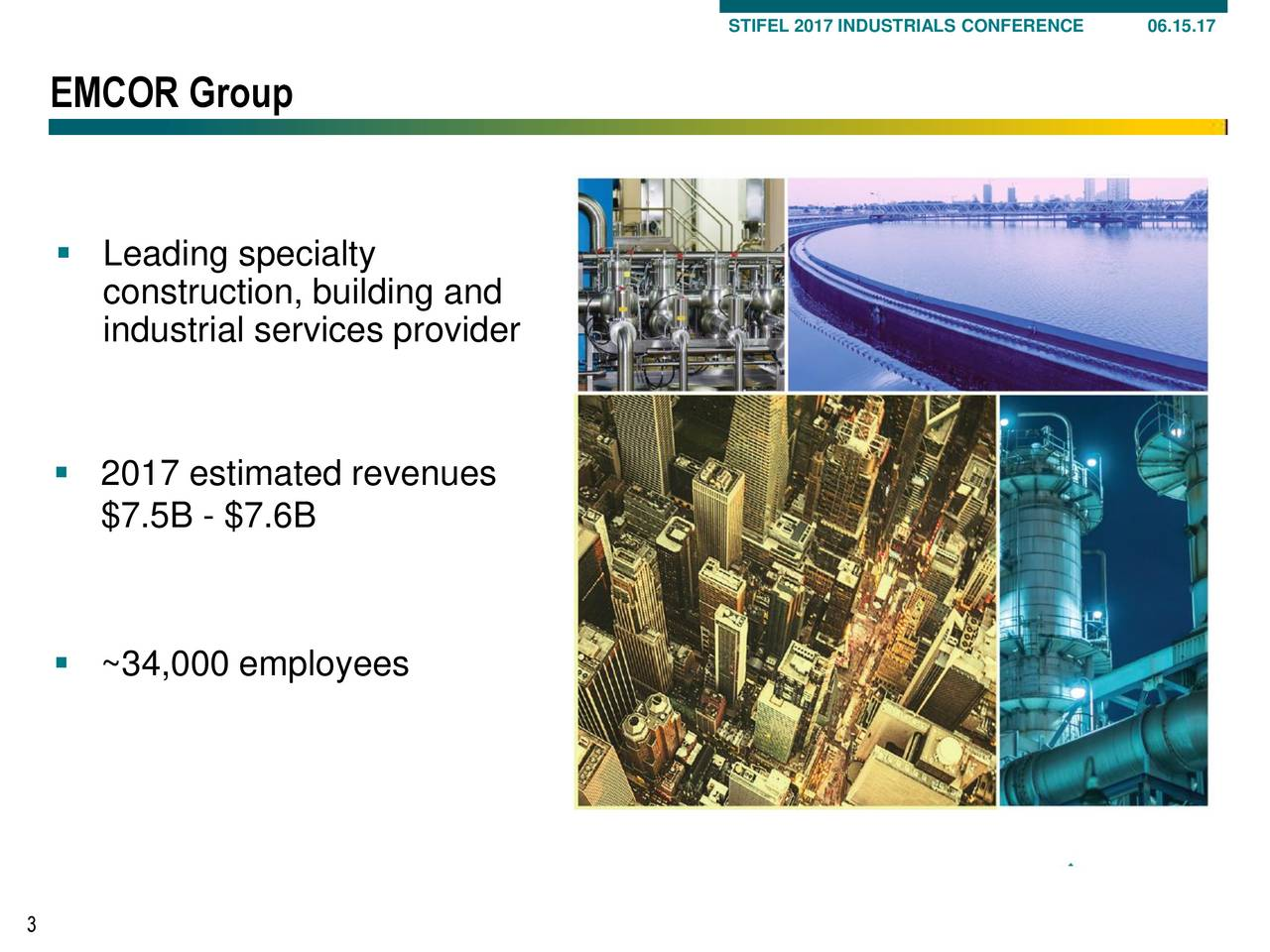 EMCOR Group Leading specialty construction, building and industrial services provider 2017 estimated revenues $7.5B - $7.6B ~34,000 employees 3