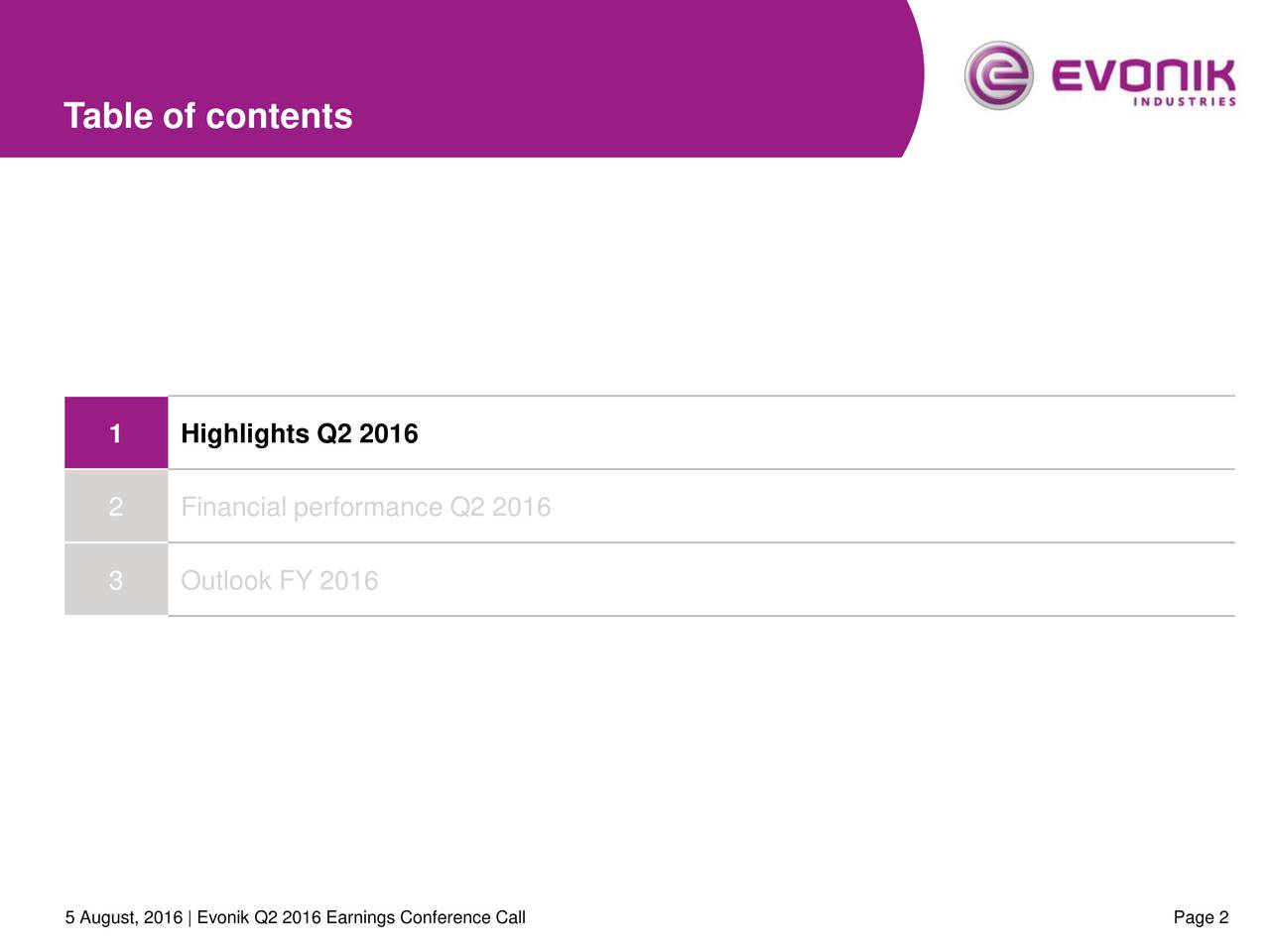1 Highlights Q2 2016 2 Financial performance Q2 2016 3 Outlook FY 2016 5 August, 2016 | Evonik Q2 2016 Earnings Conference Call Page 2