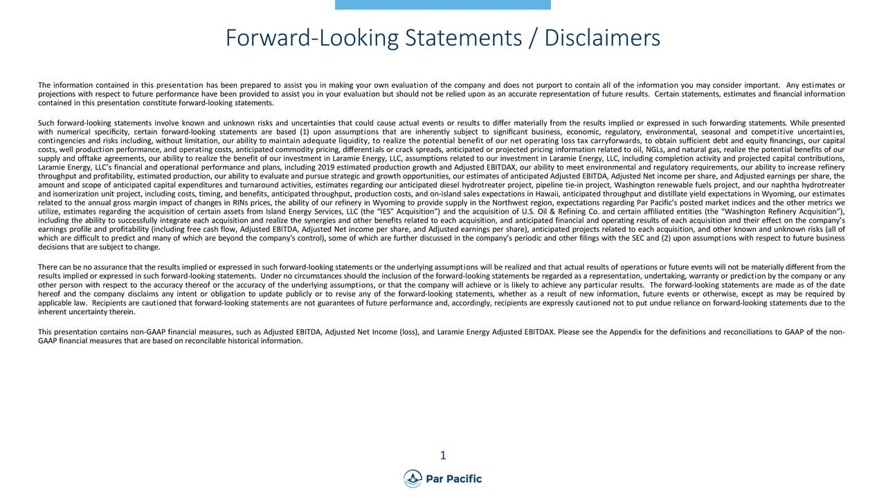 Forward-Looking Statements / Disclaimers