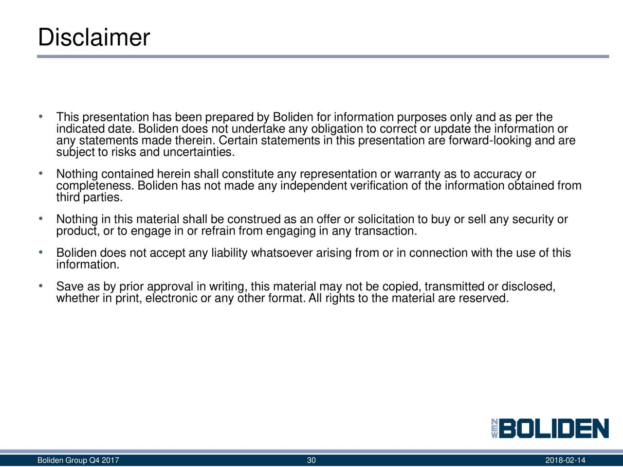 Boliden ab adr 2017 q4 results earnings call slides for Earnings disclaimer template