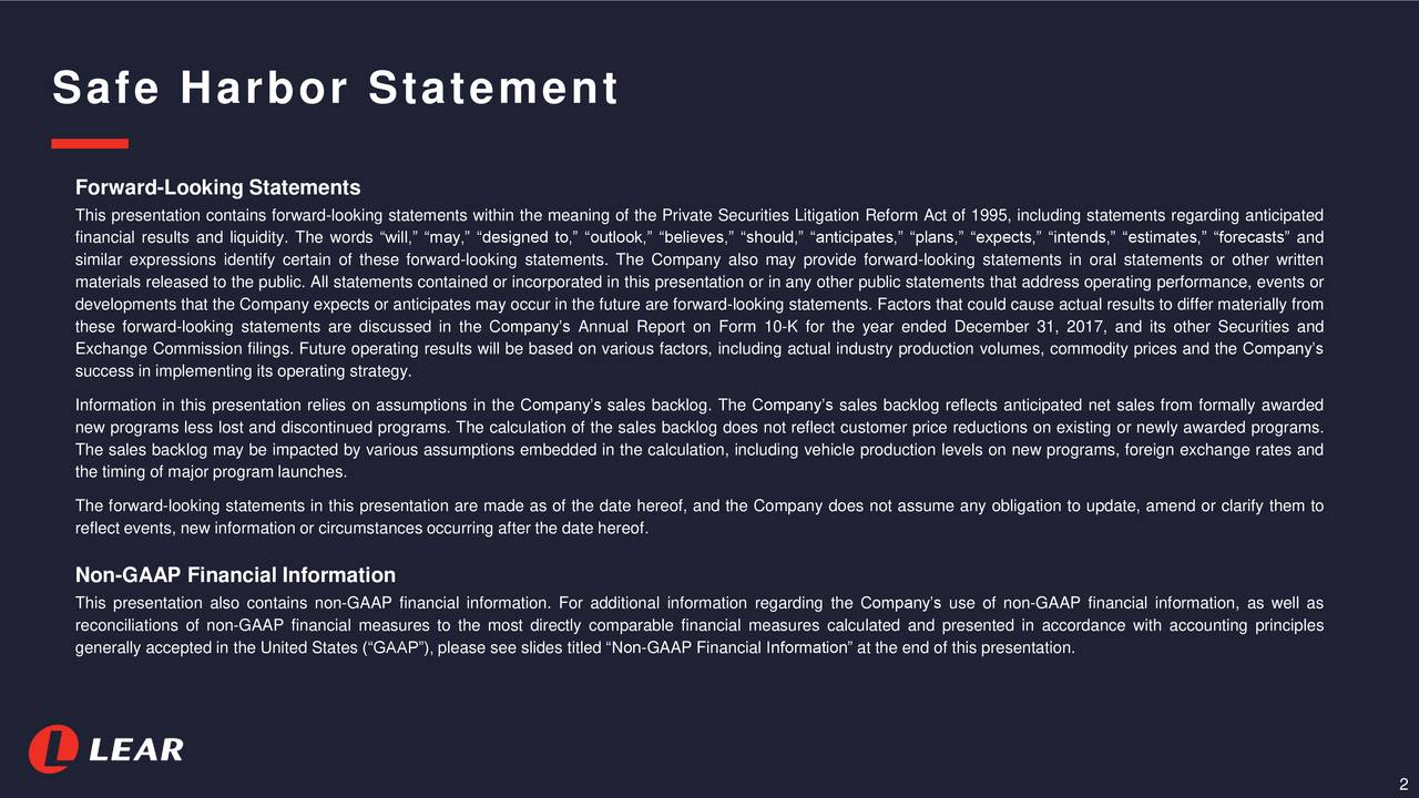 """Forward-Looking Statements This presentation contains forward-looking statements within the meaning of the Private Securities Litigation Reform Act of 1995, including statements regarding anticipated financial results and liquidity. The words """"will,"""" """"may,"""" """"designed to,"""" """"outlook,"""" """"believes,"""" """"should,"""" """"anticipates,"""" """"plans,"""" """"expects,"""" """"intends,"""" """"estimates,"""" """"forecasts"""" and similar expressions identify certain of these forward-looking statements. The Company also may provide forward-looking statements in oral statements or other written materials released to the public. All statements contained or incorporated in this presentation or in any other public statements that address operating performance, events or developments that the Company expects or anticipates may occur in the future are forward-looking statements. Factors that could cause actual results to differ materially from these forward-looking statements are discussed in the Company's Annual Report on Form 10-K for the year ended December 31, 2017, and its other Securities and Exchange Commission filings. Future operating results will be based on various factors, including actual industry production volumes, commodity prices and the Company's success in implementing its operating strategy. Information in this presentation relies on assumptions in the Company's sales backlog. The Company's sales backlog reflects anticipated net sales from formally awarded new programs less lost and discontinued programs. The calculation of the sales backlog does not reflect customer price reductions on existing or newly awarded programs. The sales backlog may be impacted by various assumptions embedded in the calculation, including vehicle production levels on new programs, foreign exchange rates and the timing of major program launches. The forward-looking statements in this presentation are made as of the date hereof, and the Company does not assume any obligation to update, amend or clarify them to reflect events, new"""
