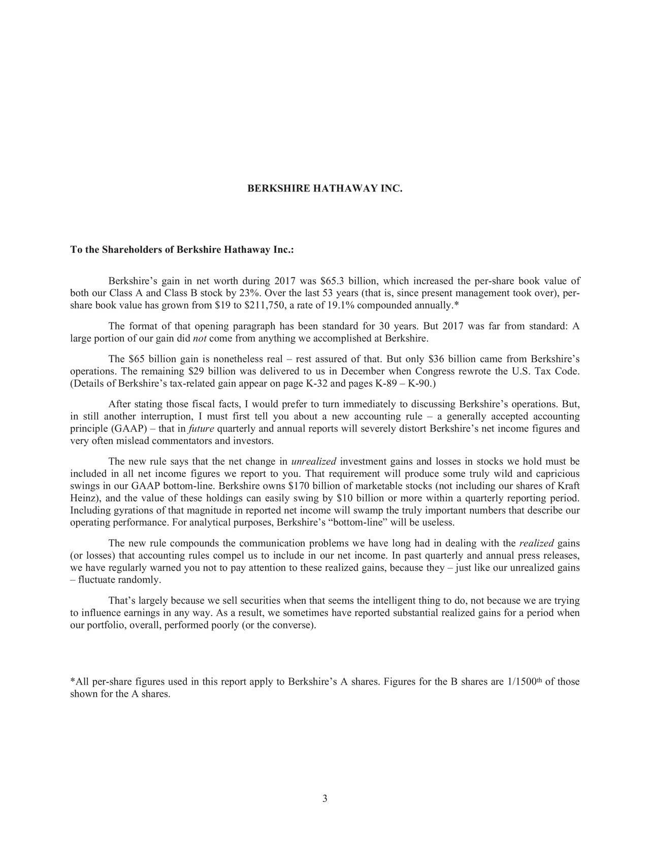 Berkshire hathaway 2017 annual letter berkshire hathaway inc nyse berkshire hathaway 2017 annual letter berkshire hathaway inc nysebrka seeking alpha buycottarizona Images