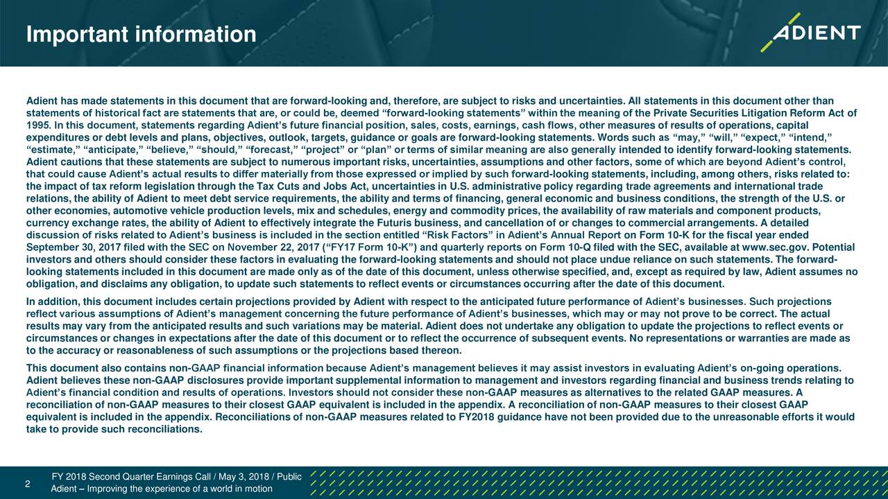 Adient plc 2018 q2 results earnings call slides for Therefore document management price
