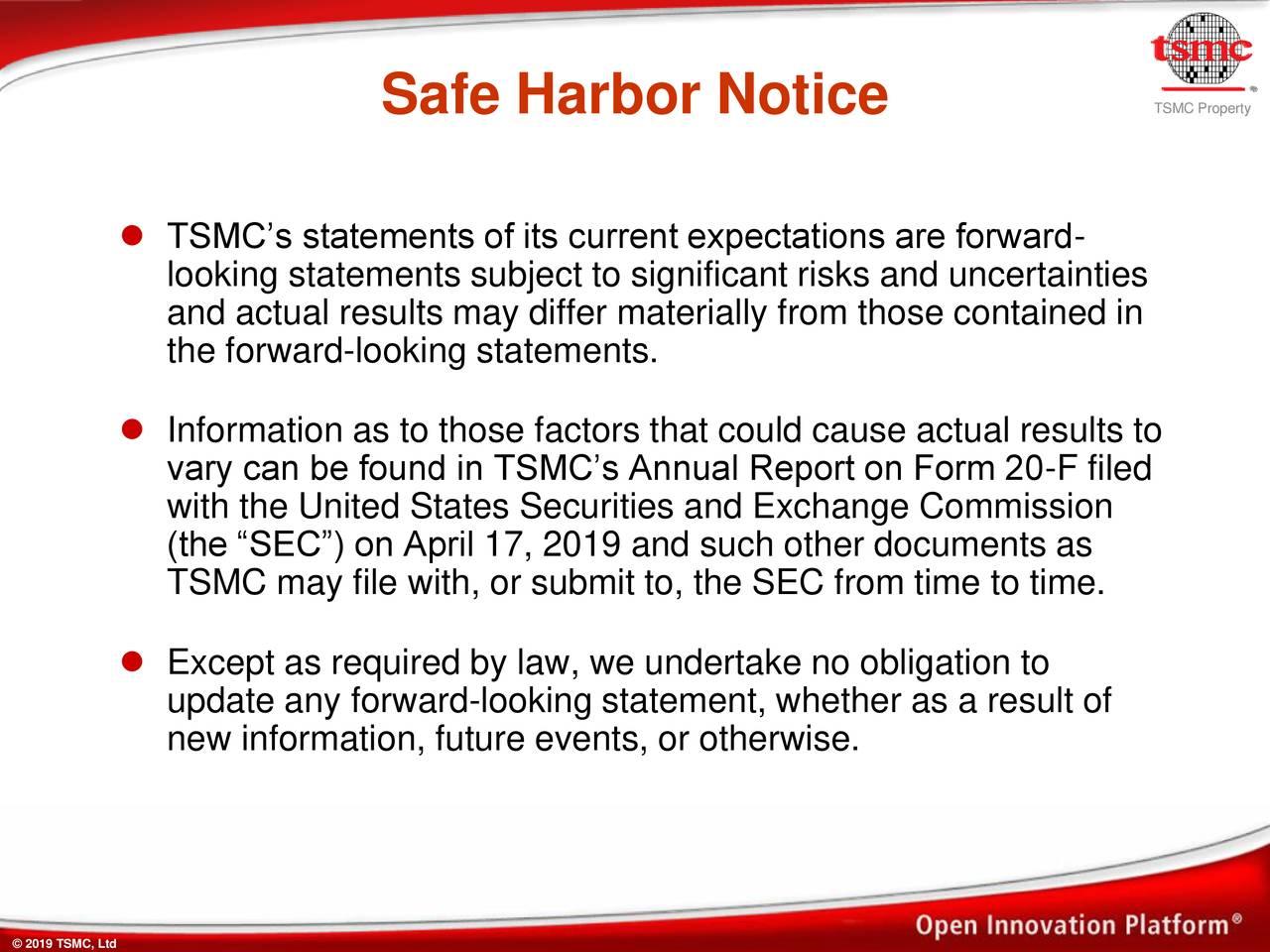 Safe Harbor Notice                                              TSMCPoerytty