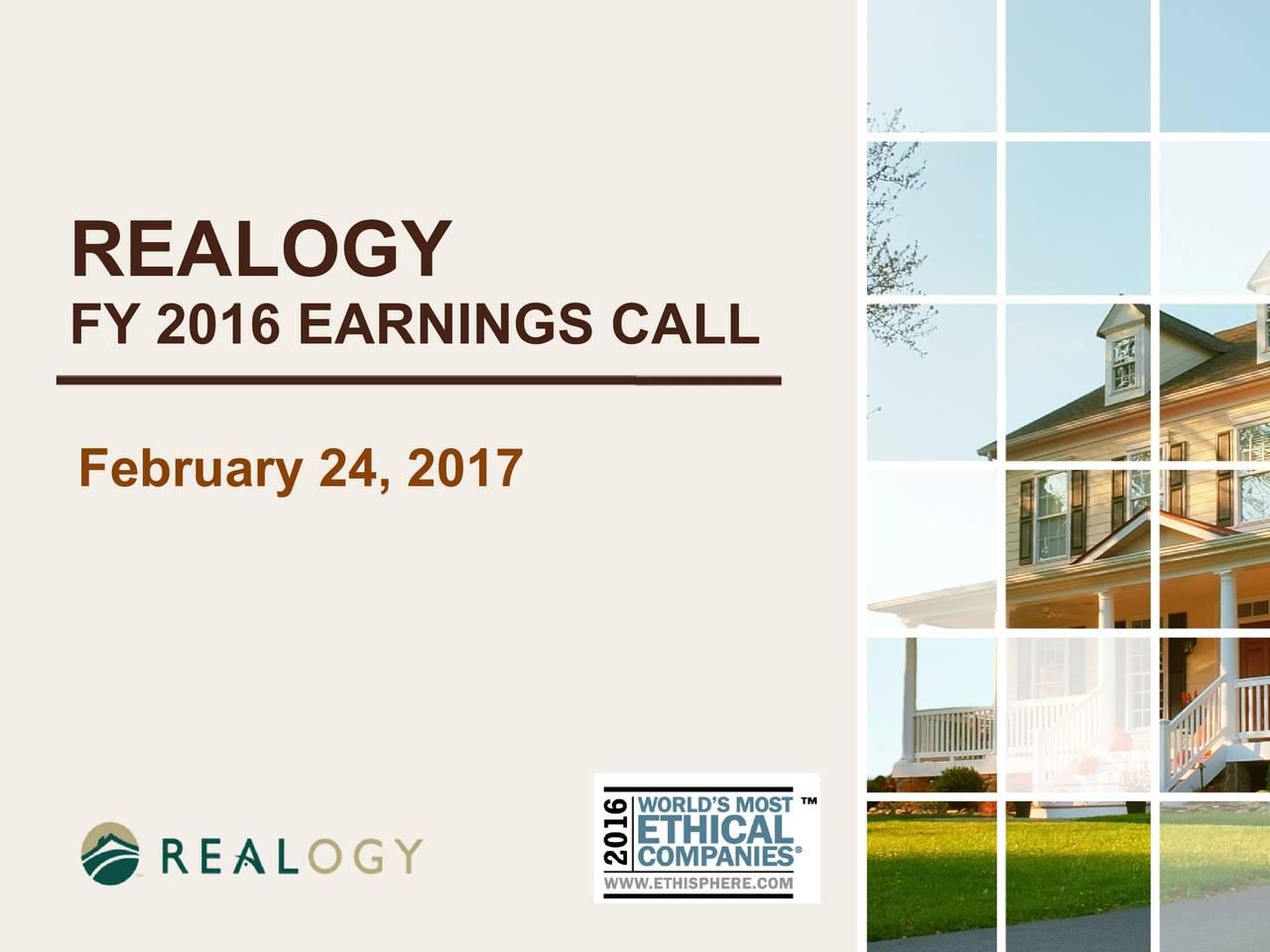 FY 2016 EARNINGS CALL February24, 2017