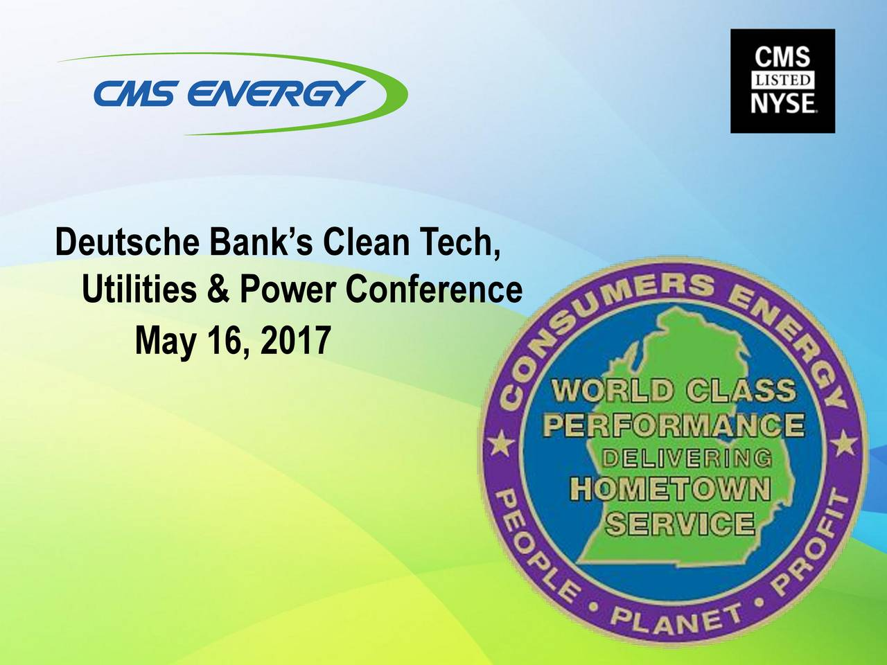 Cms energy cms presents at deutsche 2017 clean tech utilities utilities power conference may 16 biocorpaavc Gallery