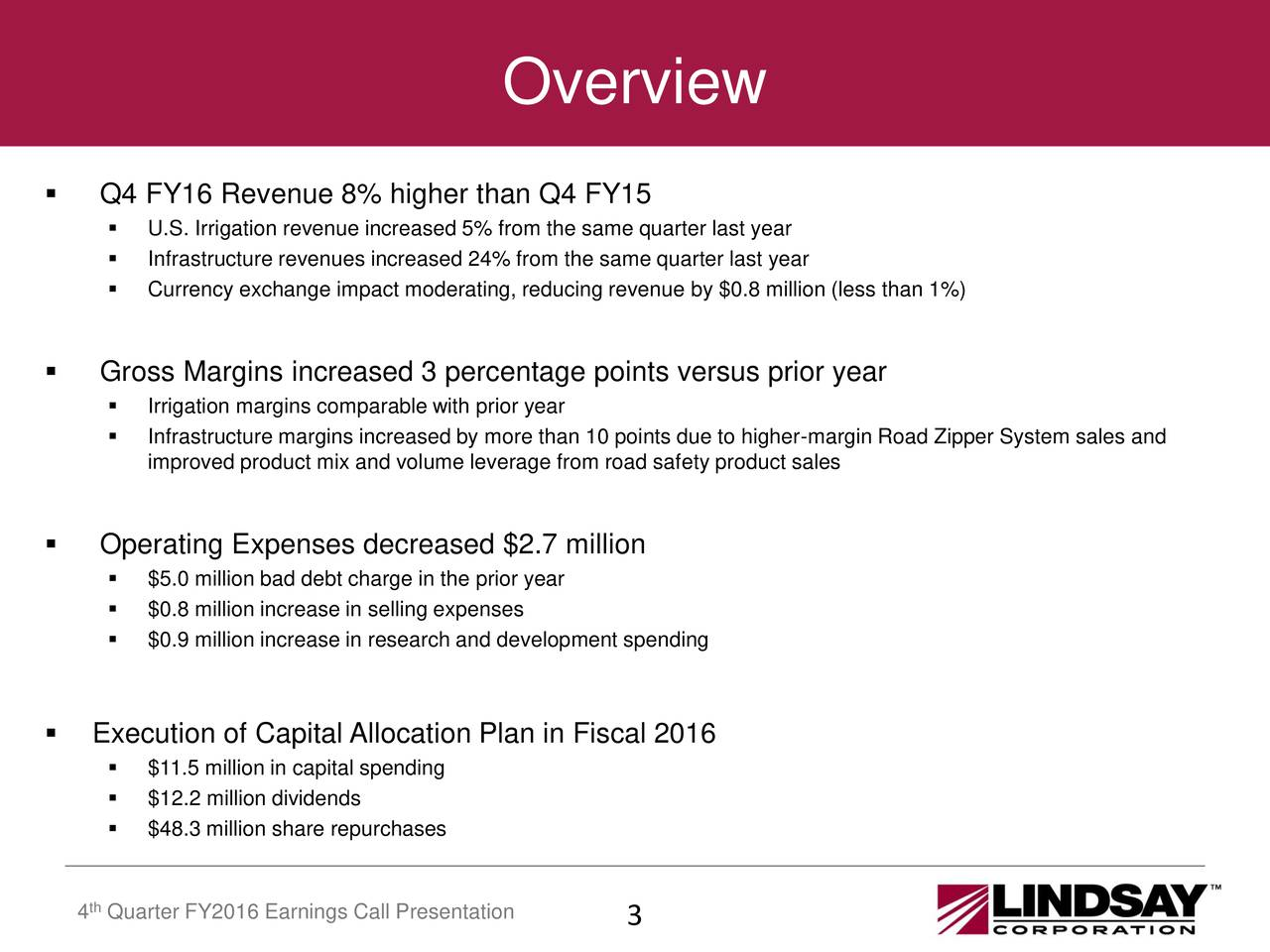 Q4 FY16 Revenue 8% higher than Q4 FY15 U.S. Irrigation revenue increased 5% from the same quarter last year Infrastructure revenues increased 24% from the same quarter last year Currency exchange impact moderating, reducing revenue by $0.8 million (less than 1%) Gross Margins increased 3 percentage points versus prior year Irrigation margins comparable with prior year Infrastructure margins increased by more than 10 points due to higher-margin Road Zipper System sales and improved product mix and volume leverage from road safety product sales Operating Expenses decreased $2.7 million $5.0 million bad debt charge in the prior year $0.8 million increase in selling expenses $0.9 million increase in research and development spending Execution of Capital Allocation Plan in Fiscal 2016 $11.5 million in capital spending $12.2 million dividends $48.3 million share repurchases th 4 Quarter FY2016 Earnings Call Presentation 3